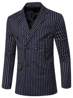 Lapel Striped Men Blazer - Blue 3xl