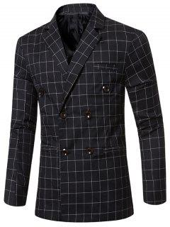 Classic Notched Lapel Collar Checked Double Breasted Blazer For Men - Black M