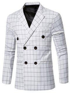 Classic Notched Lapel Collar Checked Double Breasted Blazer For Men - White 2xl