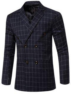 Classic Notched Lapel Collar Checked Double Breasted Blazer For Men - Blue M