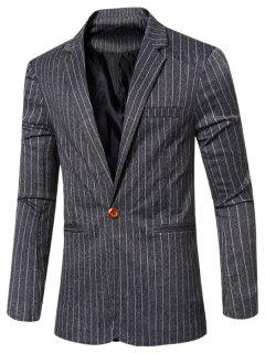Fashion Striped Notched Lapel Collar Single Button Slim Fit Blazer For Men - Black M