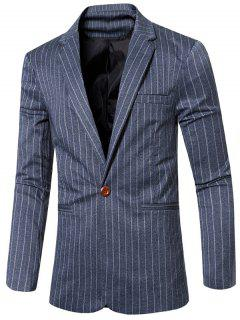Fashion Striped Notched Lapel Collar Single Button Slim Fit Blazer For Men - Blue M