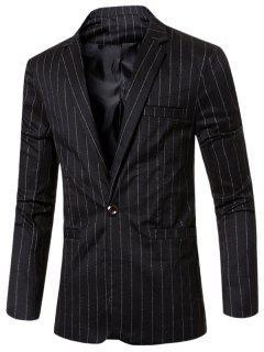 Stylish Striped Notched Lapel Collar Single Button Slim Fit Blazer For Men - Black L