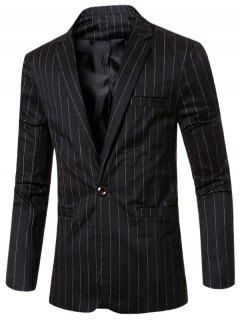 Stylish Striped Notched Lapel Collar Single Button Slim Fit Blazer For Men - Black M