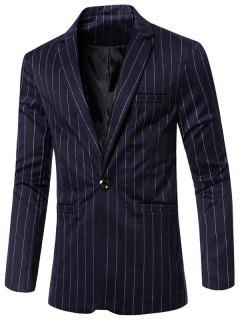 Stylish Striped Notched Lapel Collar Single Button Slim Fit Blazer For Men - Deep Blue M