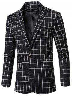 Casual Notched Lapel Collar Single Button Checked Blazer For Men - Black 3xl