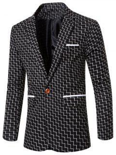 Lapel Collar Chic Stripe Print Single Button Patchwork Blazer For Men - Black L