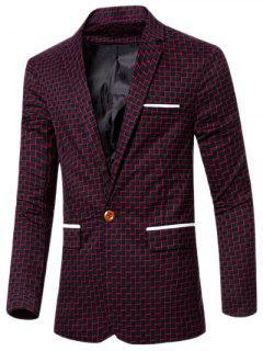 Lapel Collar Chic Stripe Print Single Button Patchwork Blazer For Men - Red M