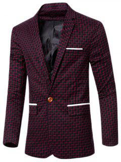Col à Revers Chic Stripe Imprimer Seul Bouton Patchwork Blazer Pour Homme - Rouge M