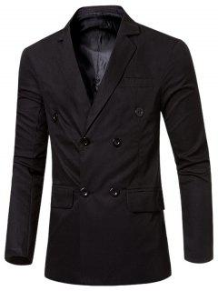 Casual Lapel Collar Double Breasted Flap-Pocket Design Blazer For Men - Black M