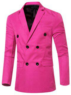 Casual Lapel Collar Double Breasted Flap-Pocket Design Blazer For Men - Pink M