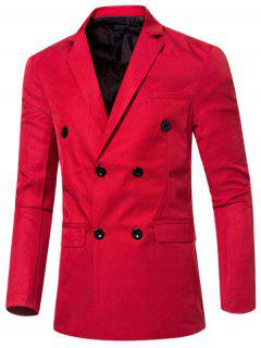 Casual Lapel Collar Double Breasted Flap-Pocket Design Blazer For Men - Red L