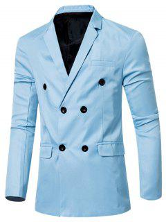 Casual Lapel Collar Double Breasted Flap-Pocket Design Blazer For Men - Light Blue 3xl