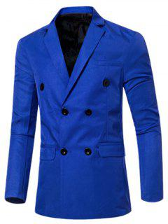 Casual Lapel Collar Double Breasted Flap-Pocket Design Blazer For Men - Sapphire Blue M