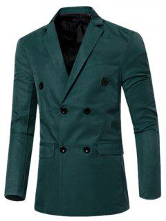 Casual Lapel Collar Double Breasted Flap-Pocket Design Blazer For Men - Blackish Green 2xl