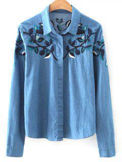 Shirt Neck Floral Embroidery Denim Shirt - Blue S