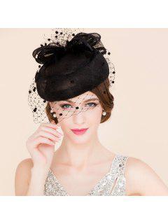 Stylish Feather Veil Fascinator Headband Wedding Banquet Party Black Pillbox Hat - Black