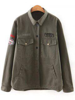 Carta De Impresión Charretera Camisa De Cuello Bolsillos De La Chaqueta - Verde Del Ejército S