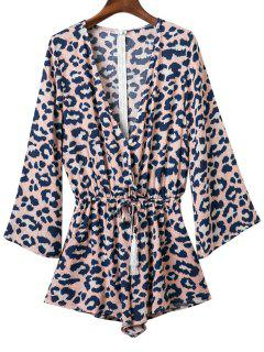 Leopard Print Plunging Neck Long Sleeve Romper - S