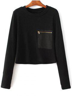 Solide Rond Couleur Neck Pocket Patchwork Sweater - Noir M