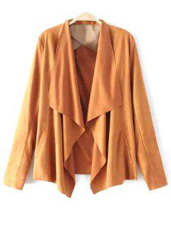 Solid Color Lapel Collar Faux Suede Coat - Earthy Xl