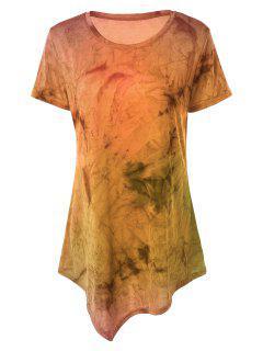 Tie Dye Hankerchief Hem T-Shirt - Orange Xl