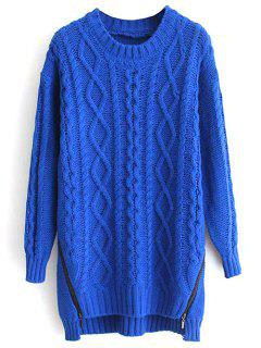 Twist Zipper Agrémentée Manches Longues Tressé Sweater - Bleu Saphir