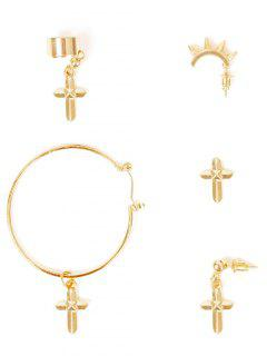 A Suit Of Cross Earrings - Golden