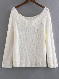 Color Sólido Con Cuello Redondo Suéter Manga Larga - Blanco