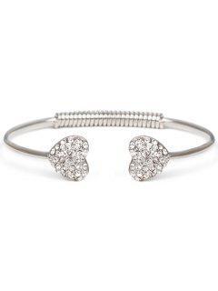 Rhinestone Heart Bracelet - Silver