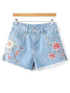 Side Slit Floral Embroidery Denim Shorts - Light Blue S