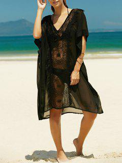 Lace Spliced Plunging Neck Bat-Wing Sleeve Dress - Black S