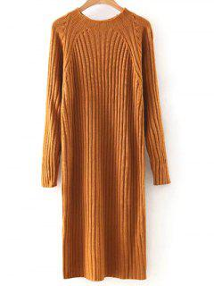 Solid Color Round Neck Sweater Dress - Orange M