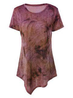 Tie Dye Hankerchief Hem T-Shirt - Yellow + Purple S