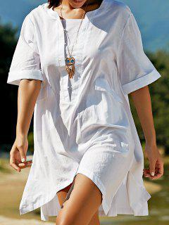 Plus Size Half Sleeve Side Slit T-Shirt Dress - White L