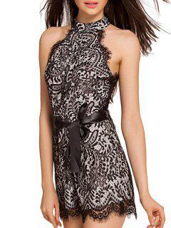 Full Lace High Neck Sleeveless Romper - Black S