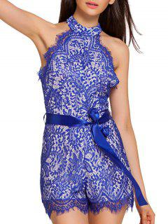 Full Lace High Neck Sleeveless Romper - Blue S