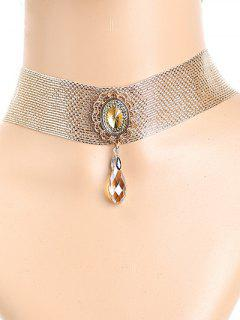 Faux Crystal Metal Lace Choker - Golden