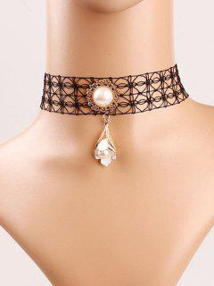 Faux Pearl Flower Lace Choker - Black