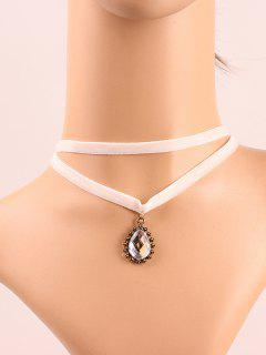 Faux Crystal Layered Choker - White