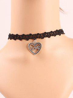 Love Heart Lace Choker Necklace - Black