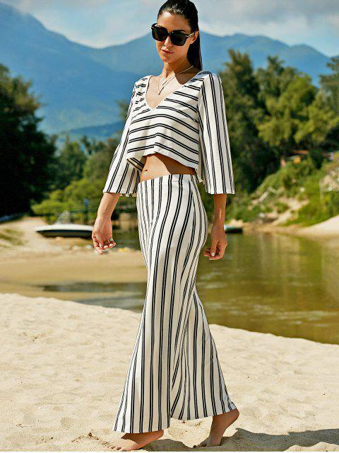 best Striped V-Neck T-Shirt and High Slit Skirt Twinset - WHITE XL Mobile