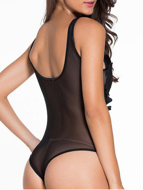 outfits Patch Design U Neck See-Through Sleepwear - BLACK L Mobile
