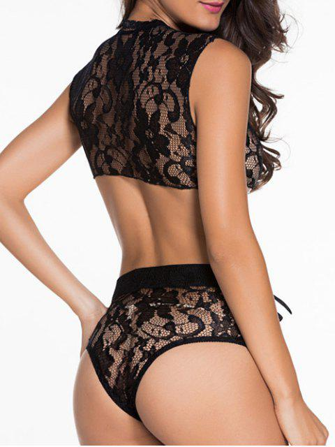womens Lace Black V Neck High Waisted Bra Set - BLACK M Mobile