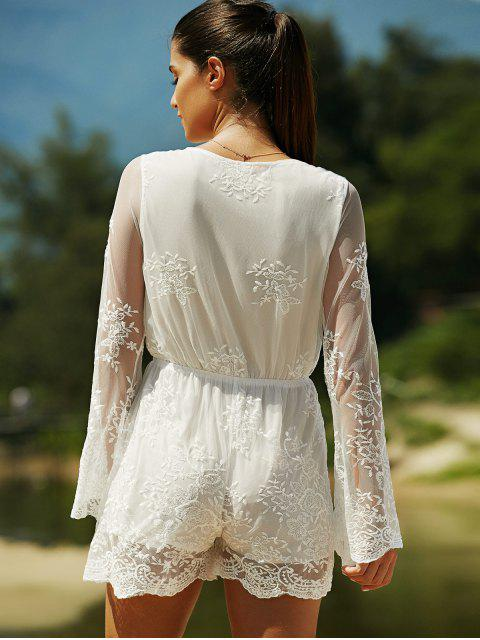 women Full Lace Plunging Neck Long Sleeve Romper - WHITE S Mobile