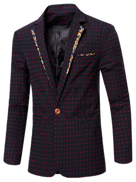 new Stylish Spliced Dot Embroidered Lapel Collar Single Button Blazer For Men -   Mobile