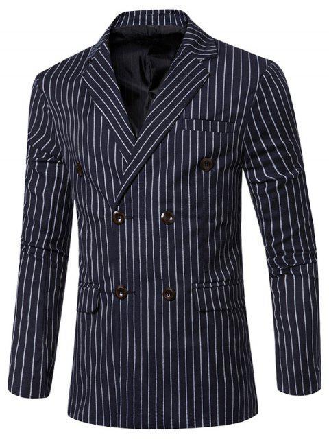 Classique rayé entaillé col à revers manches longues Blazer pour les hommes - Bleu L Mobile