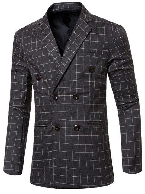 Clásico con muesca de cuello solapa cuadros doble de pecho chaqueta para los hombres - Gris M Mobile