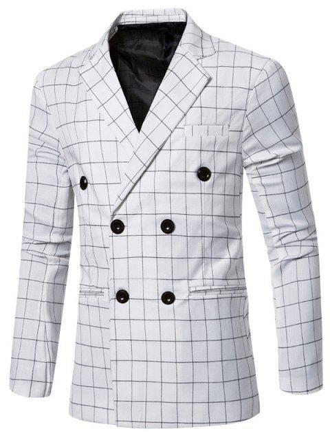 Clásico con muesca de cuello solapa cuadros doble de pecho chaqueta para los hombres - Blanco 2XL Mobile