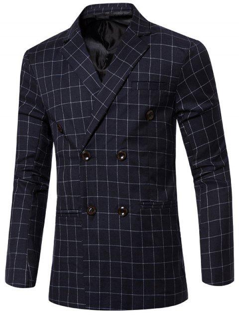 Clásico con muesca de cuello solapa cuadros doble de pecho chaqueta para los hombres - Azul M Mobile